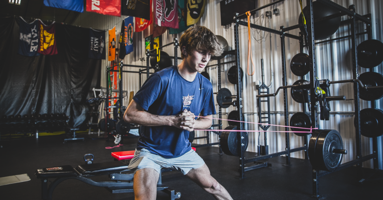 Athlete focused on strength and nutrition for baseball.