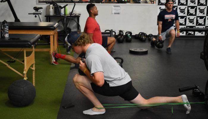 In-season training for baseball for athlete, Evan Harmon.